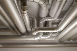 Pipes of HVAC system. 3D Illustration.